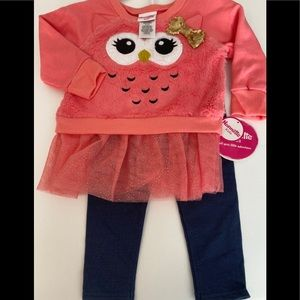 NWT nanette kids owl sequins gold heart two-piece